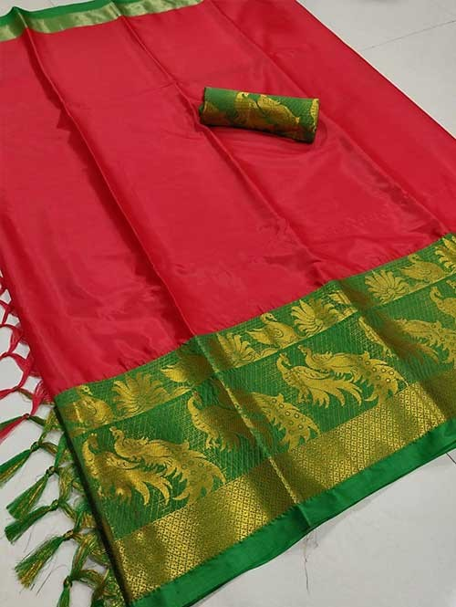 Red Color Beautiful Weaving Cotton Silk Saree - Mahishmati