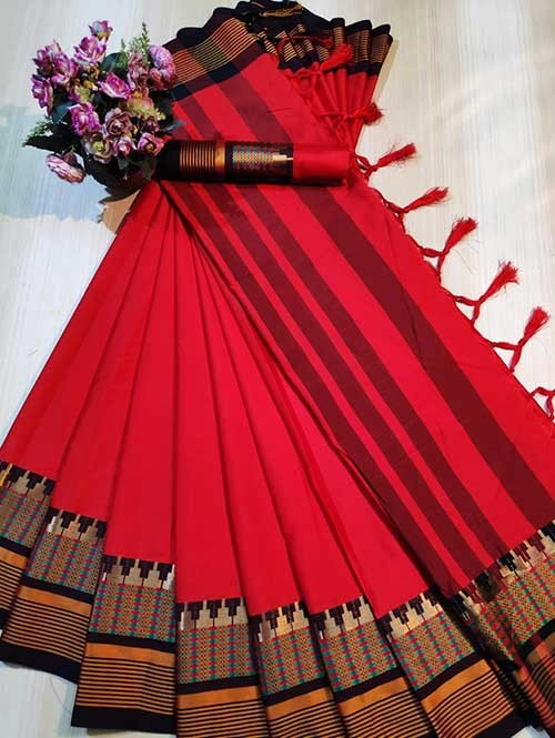 Red Color Beautiful Weaving Cotton Silk Saree - Meena