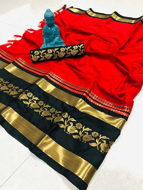 Red Color Beautiful Weaving Cotton Silk Saree