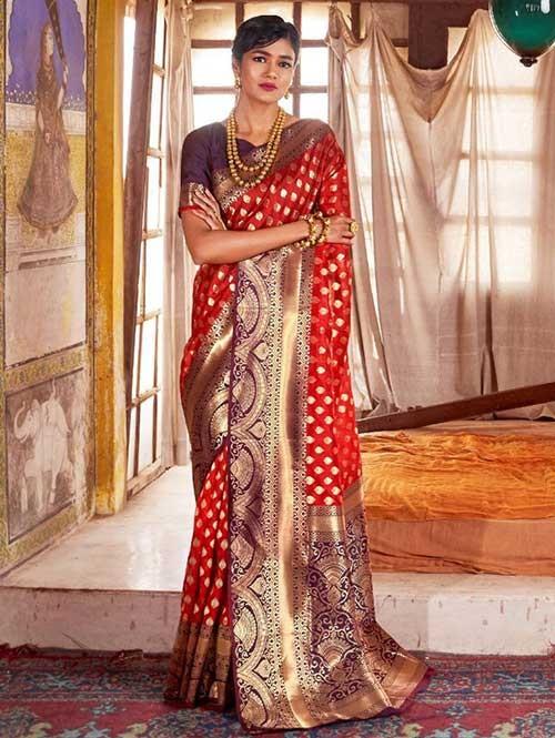 Red Color Beautiful Weaving Silk Saree - Karveena