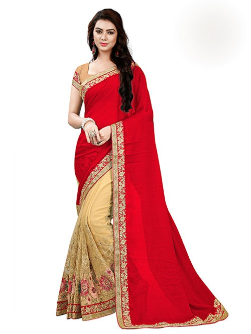 Red Color Beautiful Chiffon and Net saree with Blouse