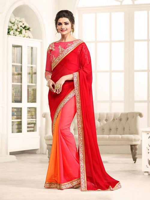 Red Color Georgeous Chiffon saree with Blouse