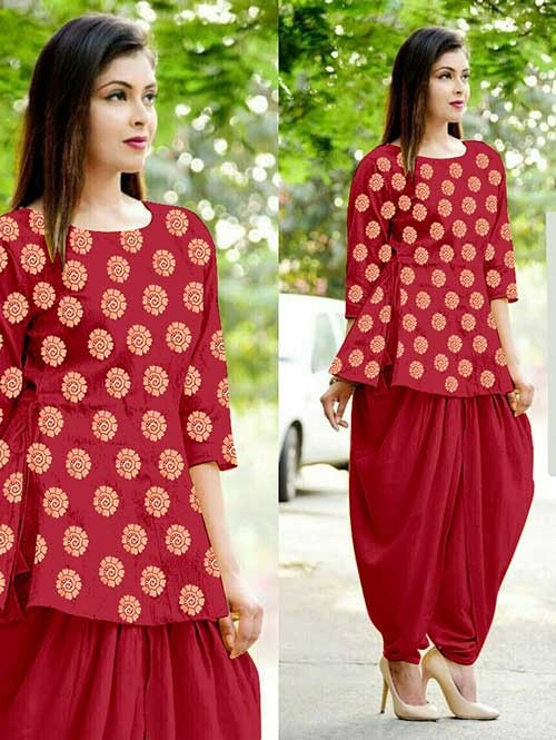 Red Color Heavy Cotton Jacquard Patiyala Style Ready-made Suit - Bunaai 3