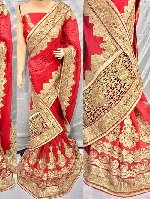 Red Color Heavy Embroidered gorgeous Pure Bemberg saree for Traditional Wear