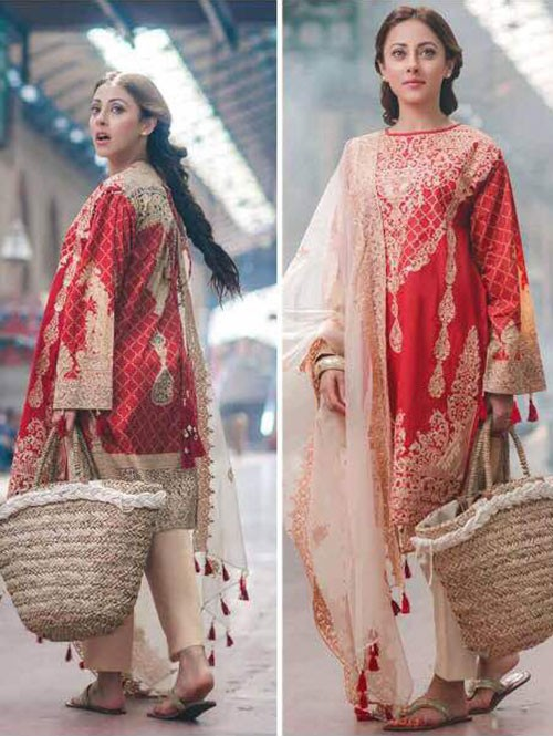 Red Color Heavy Embroidered Cotton Pakistani Suit