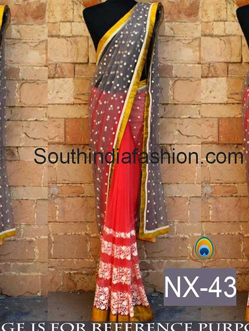 Red Color Nylon Foil Net Saree with eye-catching border