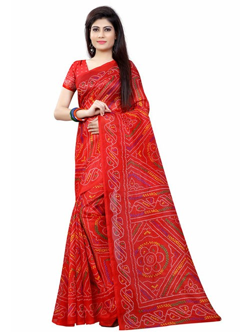 Red Color Beautiful Bandhani Bhagalpuri saree with Blouse