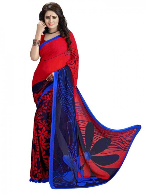 Red Color Printed Beautiful weightless saree with Blouse