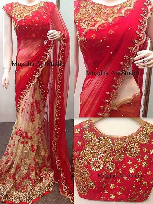 Red Colored Beautiful 60gm Georgette and Nylone Net Saree