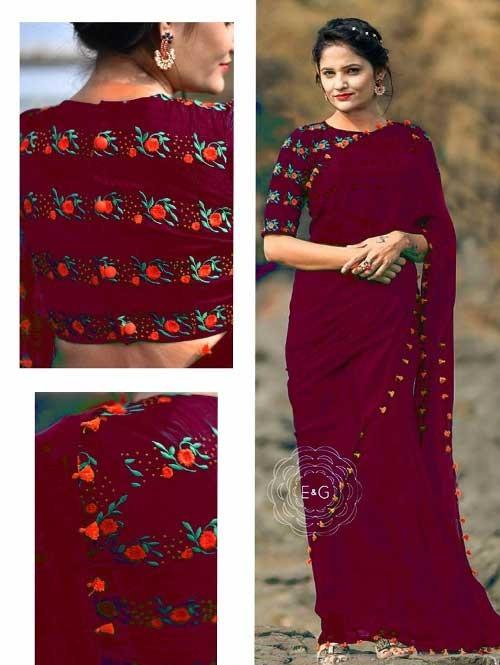 Red Colored Beautiful 60gm Georgette Saree