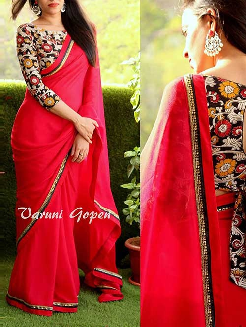 Red Colored Beautiful 60gm Georgette Saree
