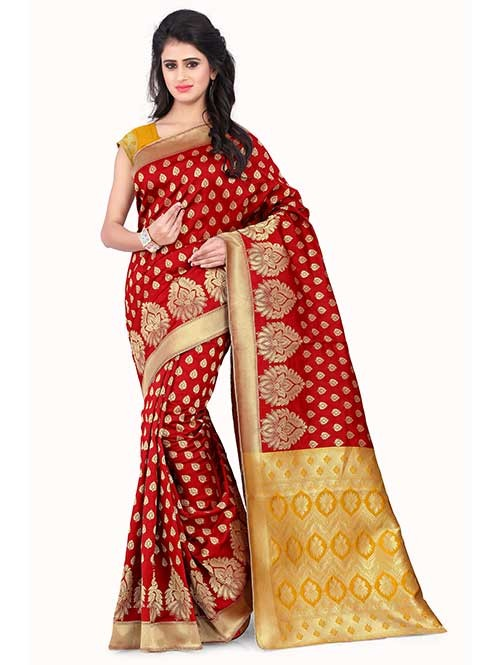 Red Colored Beautiful Banarasi Silk Saree