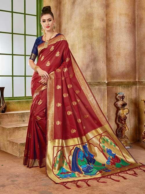 Red colored Beautiful Banarasi Silk Saree