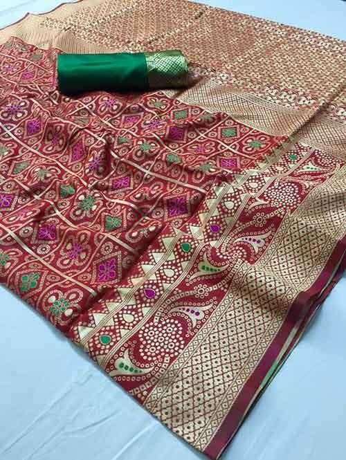 Red Colored Beautiful Branded Bandhej Weaving Silk Saree - Bandhej