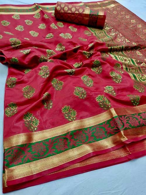 Red Colored Beautiful Branded Soft Weaving Silk Saree - Lotus