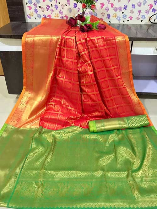 Red Colored Beautiful Branded Weaving Kanchipurm Silk Saree - Kanan