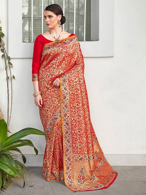 Red Colored Beautiful Branded Weaving Silk Saree - Kilfi