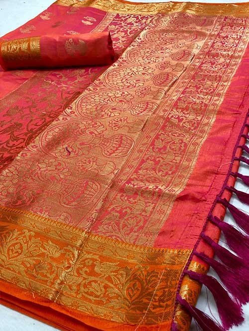 Red Colored Beautiful Branded Weaving Soft Nylon Silk Saree
