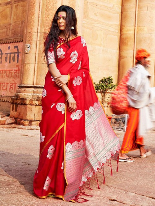 Red Colored Beautiful Branded Weaving Soft Silk Saree
