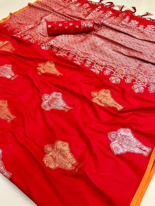 Red Colored Beautiful Branded Weaving Soft Silk Saree - Kanthsona