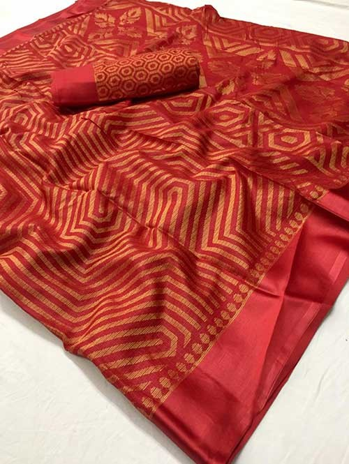 Red Colored Beautiful Soft Brasso Silk Fancy Saree - Maharashi