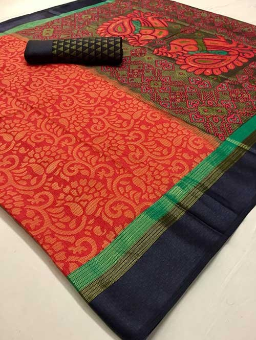 Red Colored Beautiful Brasso Soft Silk Fancy Saree With Kalamkari - Kudrat