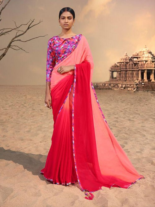 Red Colored Beautiful Chiffon Shaded Color Saree With Printed Saree