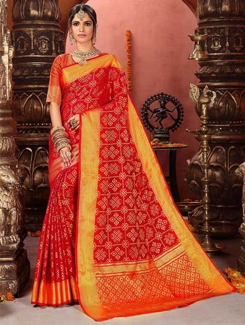 Red Colored Beautiful Cotton Silk Saree