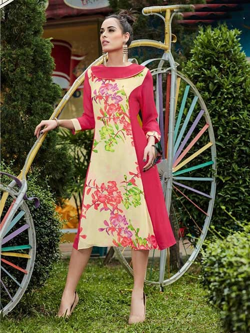 Red Colored Gorgeous Printed Georgette Kurti.