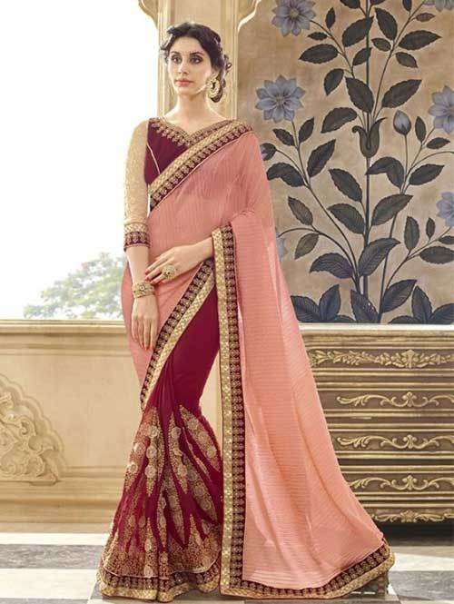 Red Colored Beautiful Embroidered Chiffon and Faux Georgette Saree