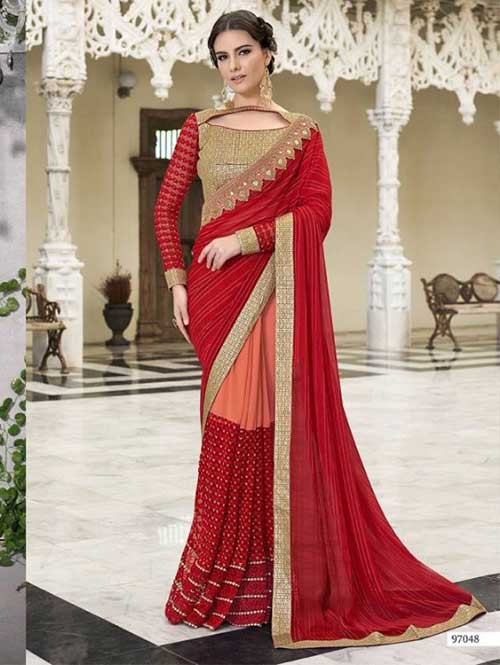Red Colored Beautiful Embroidered Chiffon, Faux Georgette and Net Saree
