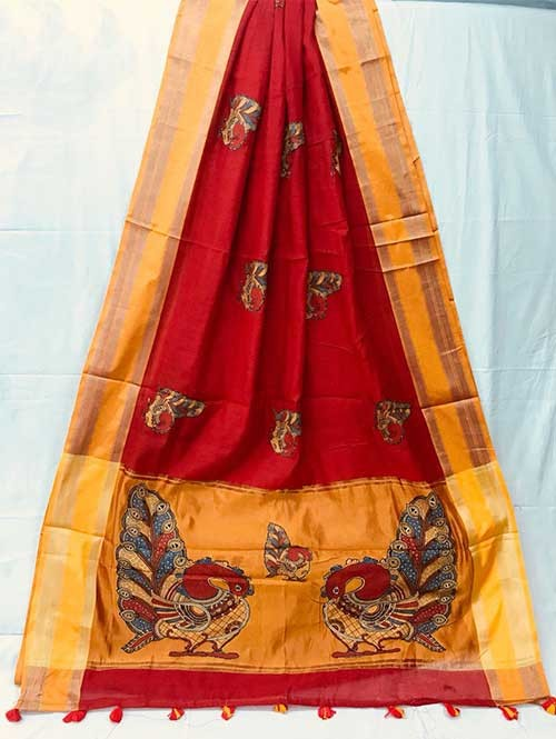 Red Colored Beautiful Embroidered Cotton Saree