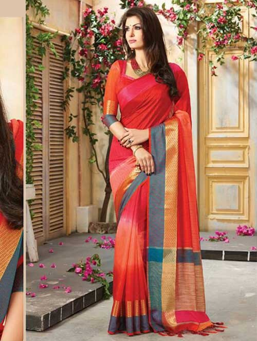 Red Colored Beautiful Embroidered Cotton Saree With Matching Blouse
