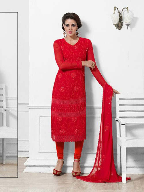 Red Colored Beautiful Embroidered Faux Chiffon Suit