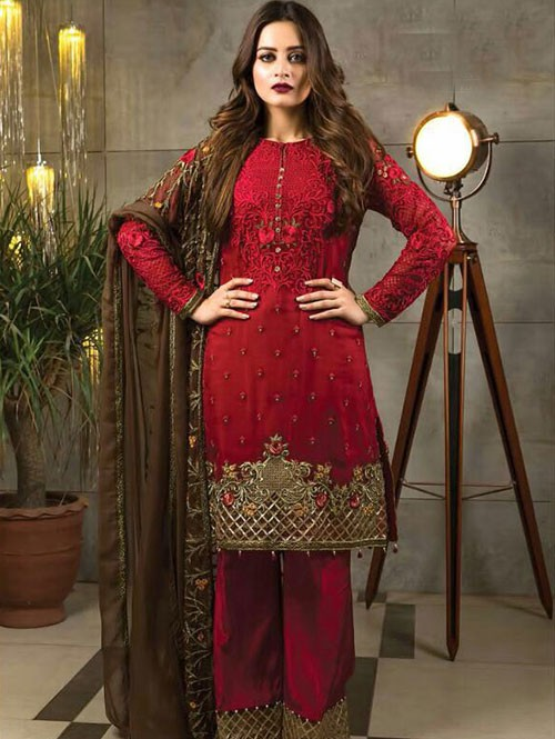 Red Colored Beautiful Embroidered Faux Georgette Pakistani Suit