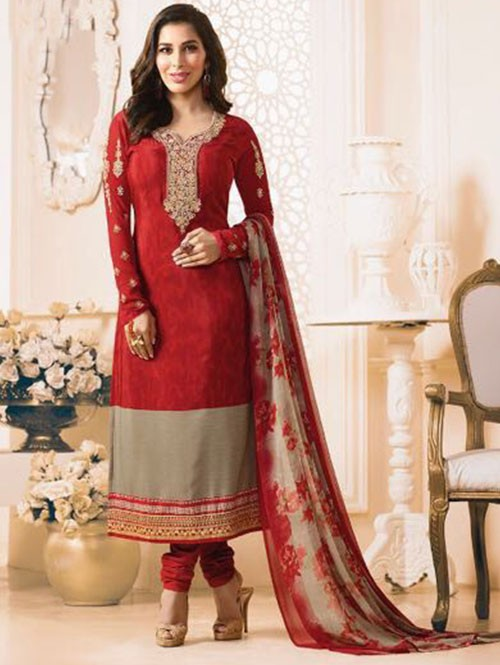 Red Colored Beautiful Embroidered France Creap Salwar Suit