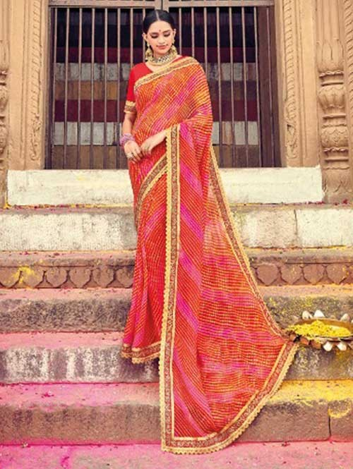 Red Colored Beautiful Embroidered Georgette Leheriyaa Pattern Printed Saree