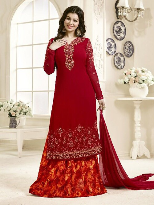 Red Colored Beautiful Embroidered Georgette Salwar Suit