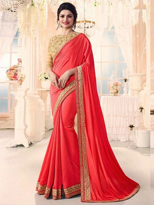 Red Colored Beautiful Embroidered Georgette Saree