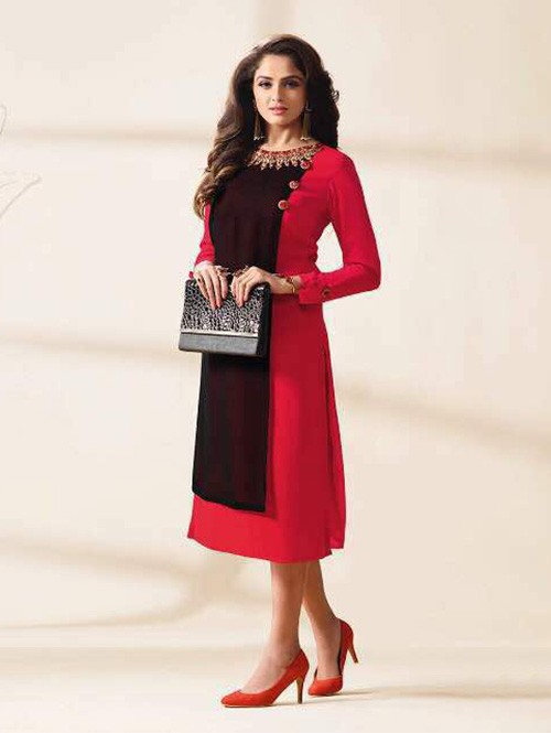 Red Colored Beautiful Embroidered Georgette Stylist Kurti.