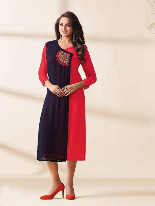 Red Colored Beautiful Embroidered Georgette Stylist Kurti