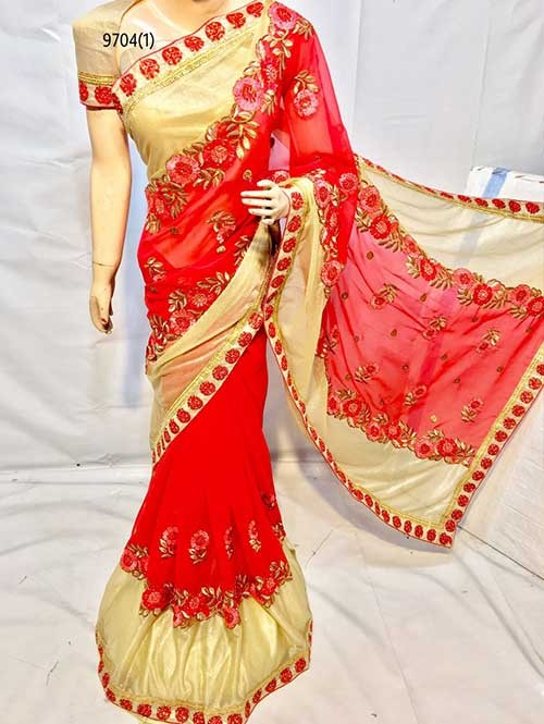 Red Colored Beautiful Embroidered Georgette with Lycra Saree
