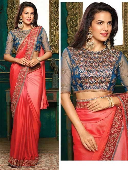 Red Colored Beautiful Embroidered Chiffon Saree