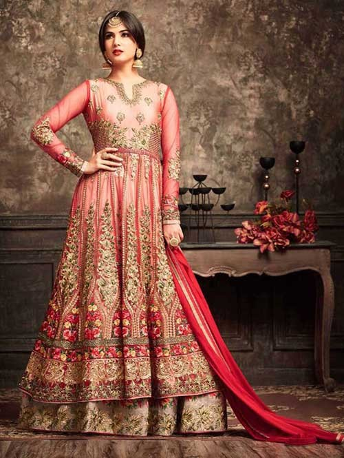 Red Colored Beautiful Embroidered Net Anarkali Suit