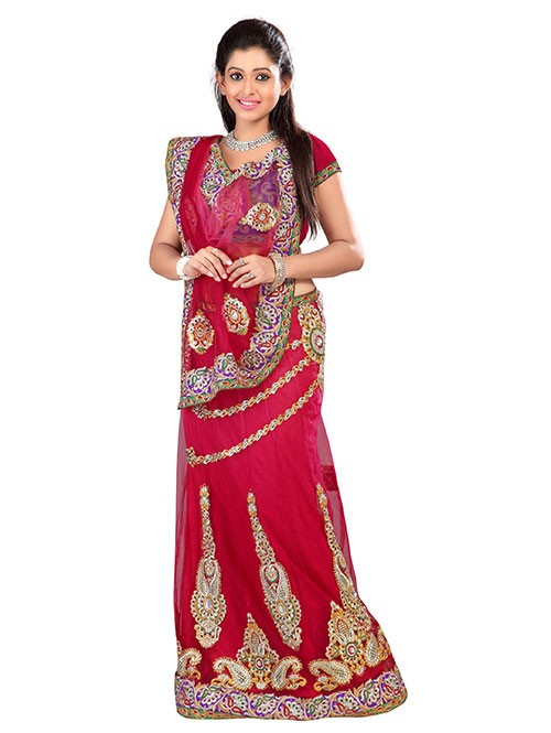 Red Colored Beautiful Embroidered Net Lehenga Saree