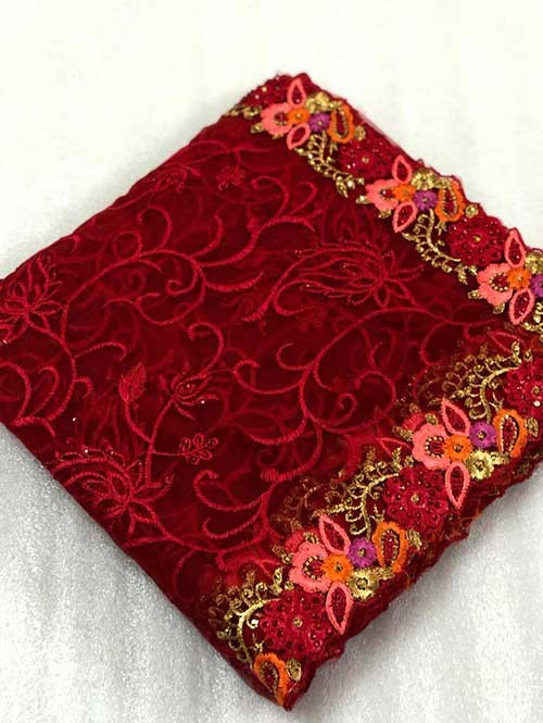 Red Colored Beautiful Embroidered Net Saree