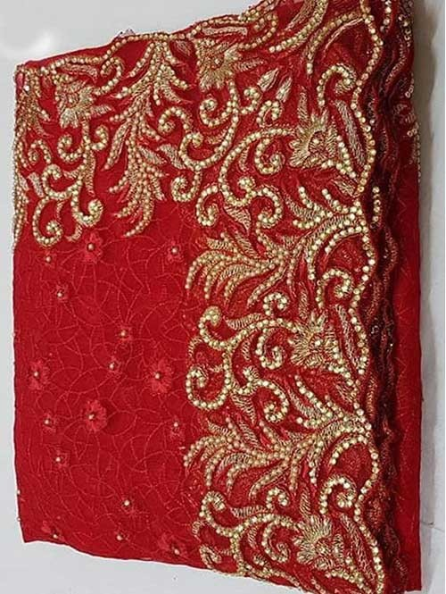 Red Colored Beautiful Embroidered Net Saree With Dimond work and Pearl work