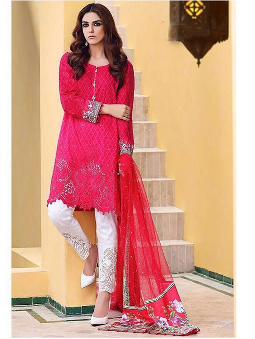 Red Colored Beautiful Embroidered Pakistani Salwar Suit