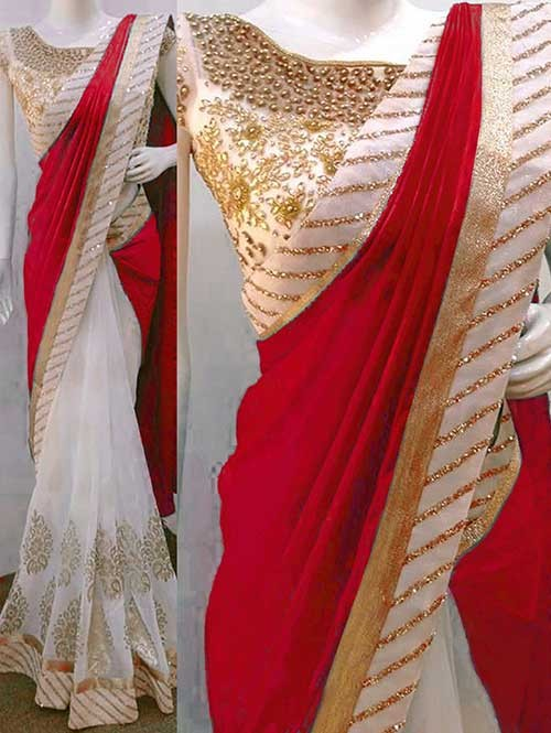 Red Colored Beautiful Embroidered Paper Silk And 60gn Georgette Saree