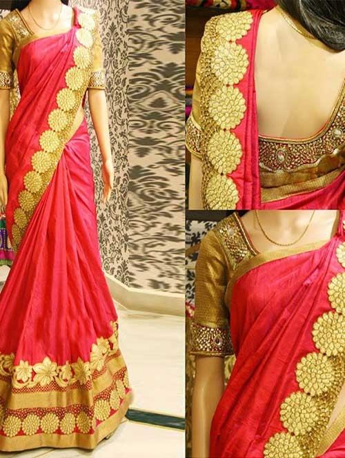 Red Colored Beautiful Embroidered Paper Silk Saree